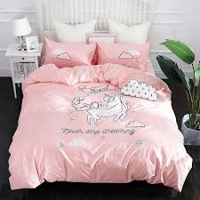 new pink unicorn bedding sets embroidery bed set double twin queen king size duvet cover bed sheet set pillowcase teen bedding sets leopard print bedding
