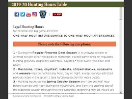 Hunting Season Chart 2019 20 Hunting Hours Table
