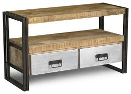 wood and iron furniture. reclaimed wood and iron tv console with metal drawers eclectic furniture a