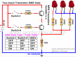 two input and gate using npn transistor iamtechnical com two input and gate using npn transistor 2 input and gate circuit diagram