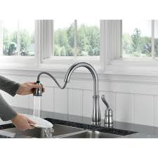 Delta Pull Down Kitchen Faucet Delta 978 Ar Dst Single Handle Pull Down Kitchen Faucet In Arctic