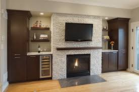white tile over brick fireplace