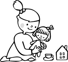 人形で遊ぶ子供のイラストモノクロ白黒