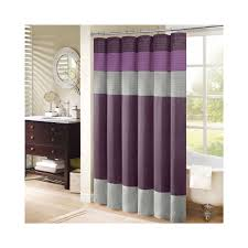purple grey striped fabric shower curtains on stainless hook