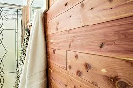 cedar planked bathroom wall 3