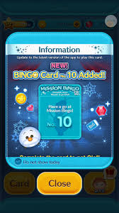 bingo card 10 added to the disney tsum tsum app