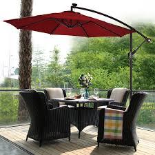 Costway 10' Hanging <b>Solar LED</b> Umbrella Patio Sun Shade Offset ...