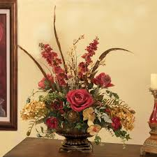 burgundy and moss silk floral design silk flower centerpiece