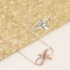 personalised infinity arrow pendant necklace rose gold