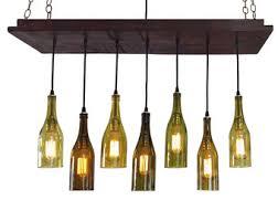 wine bottle lighting. wine bottle light 7 recycled bottles rustic chandelier kitchen lighting