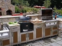 Outdoor Kitchen Design Tool Stainless Steel Appliances Plus Cabinets Rock  Countertop And Backsplash Black Floor Tile Stainless Steel Appliance Sets  Cabinets ...