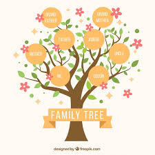 Cute Family Tree With Decorative Pink Flowers Vector Free