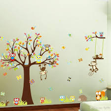 large monkey owl tree wall decal removable sticker kids art inside childrens bedroom decals animals inspire