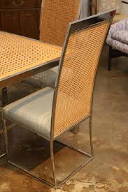 american mid century modern chrome glass and wicker game or dining table for