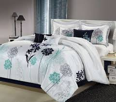 oasis white navy teal luxury bedding set cal king bedding by size bedding bed in a bag