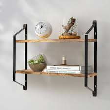 tier metal wood shelf wall shelves