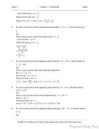 polynomials solutions for rd sharma class 10 chapter 2