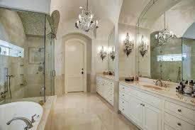 luxury master suite bathroom with elegant crystal chandelier bathroom chandelier lighting ideas