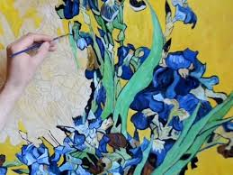a demonstration of the painting of van gogh s vase with irises myb