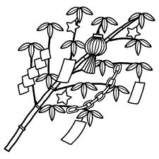 笹飾り2白黒七夕たなばたの無料イラスト夏の季節行事素材