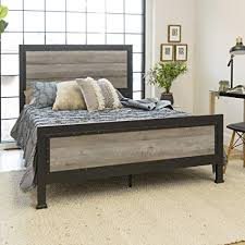 Amazon.com: New Rustic Queen Industrial Wood and Metal bed ...