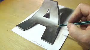 how to draw 3d letter a drawing letter a with pencil