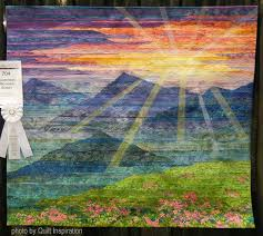 Quilt Inspiration: February 2016 & Winner of Honorable Mention - Wall Quilts - Landscape at this show,  Carpathian Mountain Sunset was inspired by the beautiful colors in a  photograph called ... Adamdwight.com