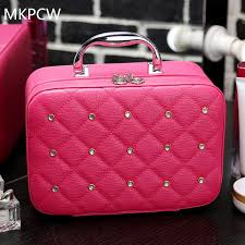 2017 luxury women bling cosmetic case rivet rhinestone makeup box professional tote cosmetic bag beauty case for beignners makeup kits makeup sets from
