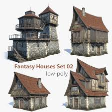 Set of 4 Low Poly game 3d-models of medieval / fantasy house.