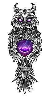 эскиз тату сова филин сова с волшебным цветком сова с лотосом