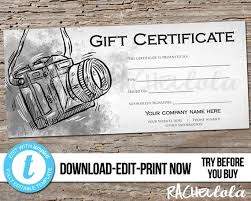 Custom Gift Certificate Templates Free Editable Custom Printable Photography Gift Certificate Template Photo Session Voucher Gift Card Camera Business Instant Download Templett