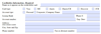 marriot credit card authorization form cardholder information