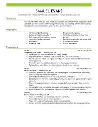 Server Resume Examples 16 Fast Food Sample Techtrontechnologies Com