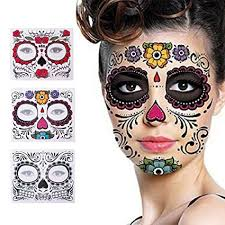 amazon 3 pack face tattoo sticker glitter red roses day of the dead sugar skull temporary tattoo for masquerade and parties