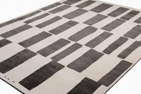 modern black and white tibetan wool and silk area rug by carini 8x10 for