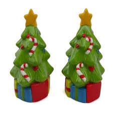 trim a home ceramic christmas tree salt and pepper shakers