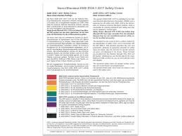 Ansi Color Chart Standards Color Chart According To Ansi Z535 1 2017 Safety Colors