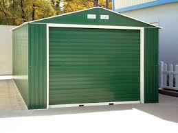 duramax 55261 metal garage 12 x 32 metal storage shed green with white trim