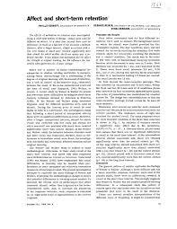 PDF) Affect and short-term retention