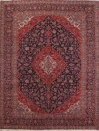 amazing vintage navy blue fl 10x13ft signed kashan persian oriental area rug