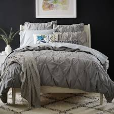 organic cotton pintuck duvet cover shams feather gray west elm with regard to incredible house duvet covers queen remodel