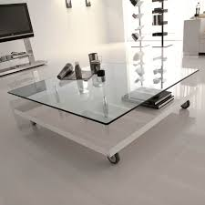 Beautiful Square Glass Coffee Table Decor Square Cocktail Table Glass Top  With Shelf And Wheels White ...
