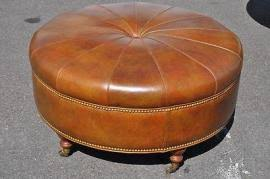 round leather ottoman. Round Leather Ottoman With Brass Casters On Wood L 7