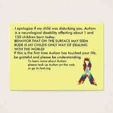 Autism com Explanation - Awareness Customized Zazzle Cards