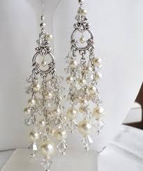 cream pearl antique silver wedding chandelier earrings long pearl earrings swarovski crystal pearl vintage look wedding bridal earrings