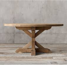 china country round wood furniture dining table with rough hewn salvaged wood planks supplier
