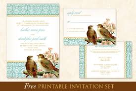 Printable Wedding Invitation Free Printable Wedding Invitation Template Set Birds Blossoms