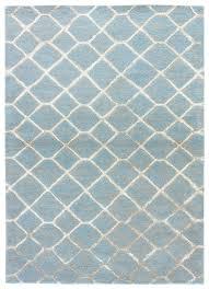 sky pastel blue hand tufted wool art silk rug