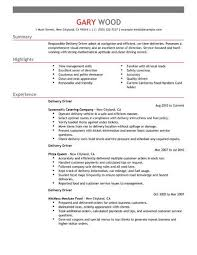 Awesome Collection Of Sample Resume For Driver Delivery Stunning