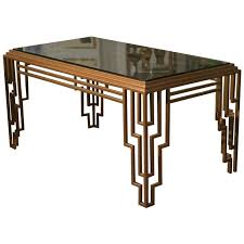 art deco style stepped geometric dining table desk from a unique collection of antique art deco dining furniture